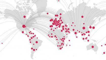 World map with red dots for Rutgers researchers